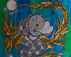 Fish And Moon 30H x 30W Mixed Media On Canvas 2012 Collection