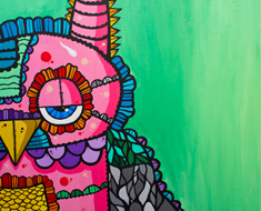Mr. Pink 30 by 30 Acrylic on Canvas SOLD